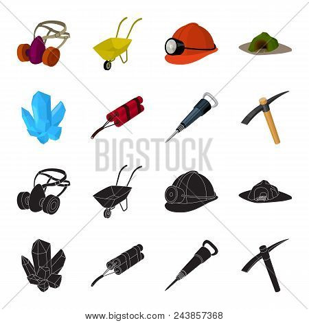 Minerals, Explosives, Jackhammer, Pickaxe.mining Industry Set Collection Icons In Black, Cartoon Sty