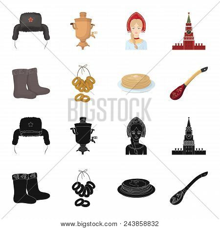Felt, Boots, Drying, Gingerbread .russia Country Set Collection Icons In Black, Cartoon Style Vector