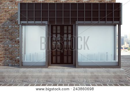 Modern Glass Storefront With Empty Billboard. Retail And Commerce Concept. Mock Up, 3d Rendering