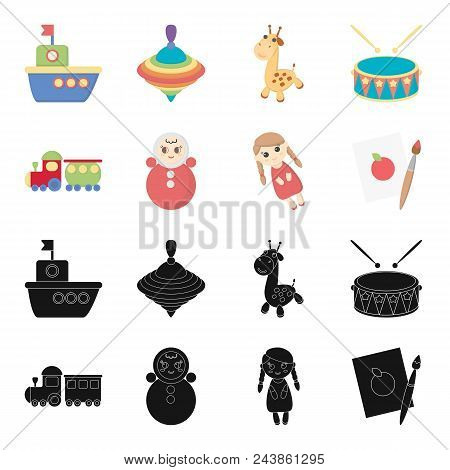 Train.kukla, Picture.toys Set Collection Icons In Black, Cartoon Style Vector Symbol Stock Illustrat