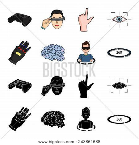 Technology, Innovation, Man, Complemented .virtual Reality Set Collection Icons In Black, Cartoon St