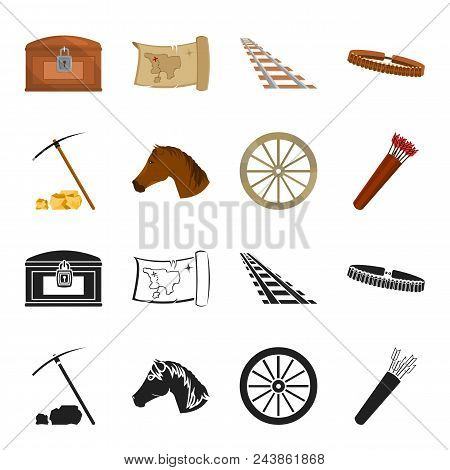 Pickax Hoe, Horse Head, Wheel Cart, Quiver With Arrows.wild West Set Collection Icons In Black, Cart