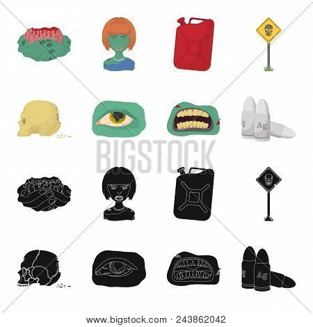 Zombies And Attributes Black, Cartoon Icons In Set Collection For Design. Dead Man Vector Symbol Sto