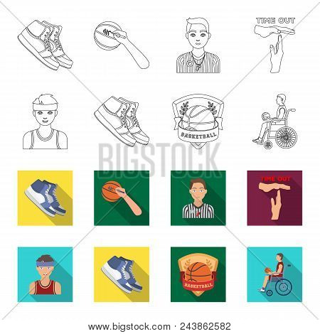 Basketball And Attributes Outline, Flat Icons In Set Collection For Design.basketball Player And Equ
