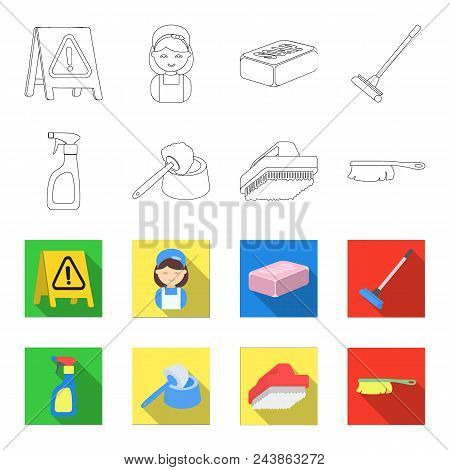 Cleaning And Maid Outline, Flat Icons In Set Collection For Design. Equipment For Cleaning Vector Sy