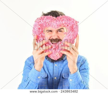 Romantic Feelings And Love Concept. Macho In Love, Shows His Romantic Feelings. Man With Happy Face