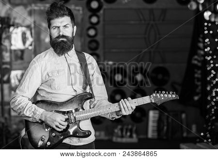 Musician With Beard Play Electric Guitar. Rock Music Concept. Man With Strict Face Play Guitar, Sing