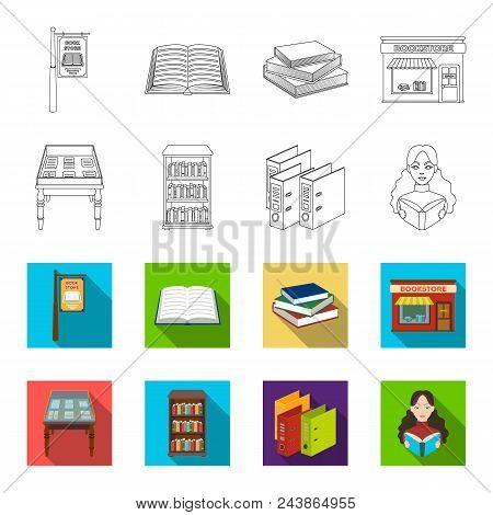 Library And Bookstore Outline, Flat Icons In Set Collection For Design. Books And Furnishings Vector