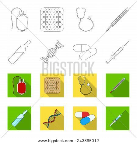 Human Dna And Other Equipment.medicine Set Collection Icons In Outline, Flat Style Vector Symbol Sto