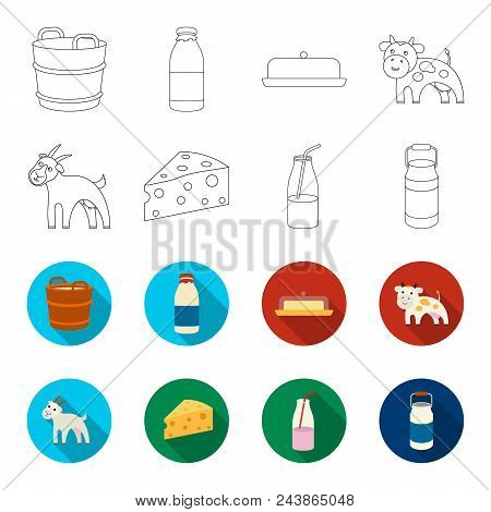 Goat, A Piece Of Cheese And Other Products. Milk Set Collection Icons In Outline, Flat Style Vector