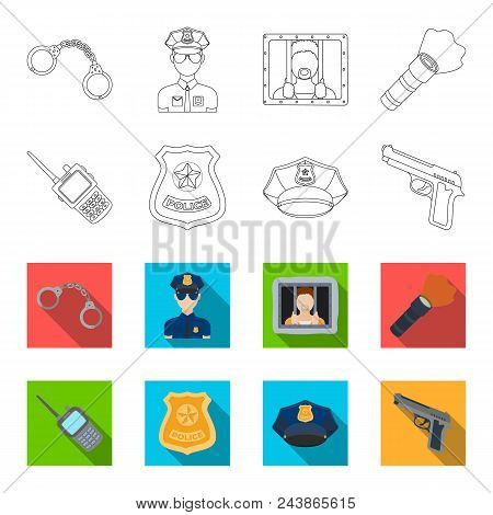 Radio, Police Officer Badge, Uniform Cap, Pistol.police Set Collection Icons In Outline, Flat Style