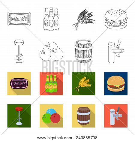 Restaurant, Cafe, Chair, Bowling Ball .pub Set Collection Icons In Outline, Flat Style Vector Symbol