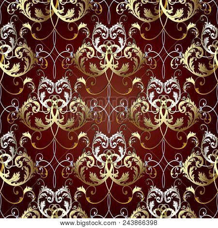 Vintage Baroque Seamless Pattern. Red Floral Vector Background Wallpaper Illustration With Gold 3d F