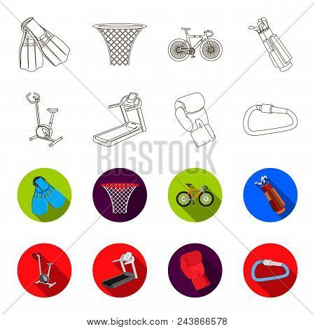 Exercise Bike, Treadmill, Glove Boxer, Lock. Sport Set Collection Icons In Outline, Flat Style Vecto