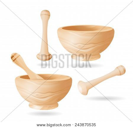 Mortar And Pestle. Set Of Mortars And Pestles. Isolated Elements Of Design. Color Illustration. Vect