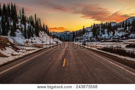 Colorado Mountain Highway 550. Million Dollars Highway. United States Of America. Scenic Colorado Mo