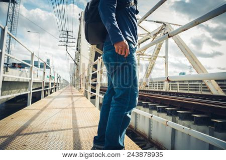 Lonely Man Stand In The A Railway Bridge Over The Chao Phraya River In Bangkok In Lonely Man Stand I