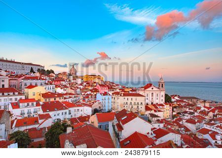Panoramic View Of Alfama, The Oldest District Of The Old Town, With Monastery Of Sao Vicente De Fora
