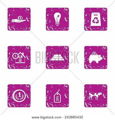 Moneybag Icons Set. Grunge Set Of 9 Moneybag Vector Icons For Web Isolated On White Background