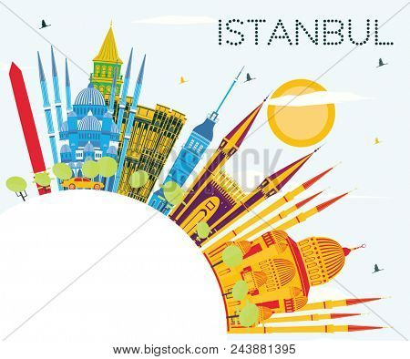 Istanbul Turkey City Skyline with Color Buildings, Blue Sky and Copy Space. Business Travel and Tourism Concept with Istanbul City. Istanbul Cityscape with Landmarks.