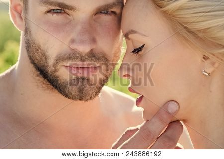 Couple In Love. Love And Romance. Muscular Man And Woman With Long Blond Hair, Love. Relations Of Ha