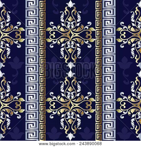 Striped Baroque Seamless Pattern. Antique Stripes Wallpaper. Vector Greek Background. Vintage Mediev