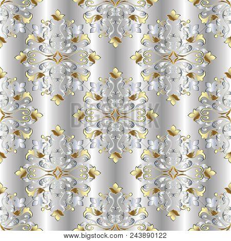 Baroque Damask Vintage Seamless Pattern. Silver Vector Background Wallpaper Illustration With 3d Gol