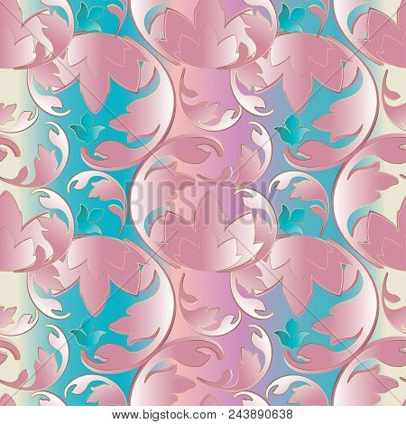 Baroque Seamless 3d Pattern. Light Floral Background Wallpaper Illustration With Pink Scroll Leaves