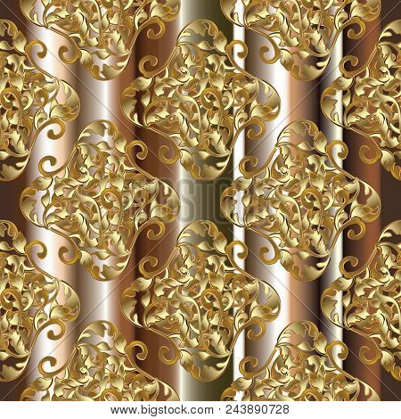 Baroque Seamless Pattern. Striped Floral Background Wallpaper Illustration With 3d Gold Flowers, Scr
