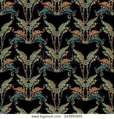 Baroque Embroidery Seamless Pattern. Floral Tapestry Background Wallpaper With 3d Colorful Vintage G