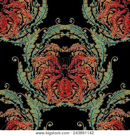 Baroque Embroidery Seamless Pattern. Floral Damask Background Wallpaper With 3d Colorful Vintage Gru