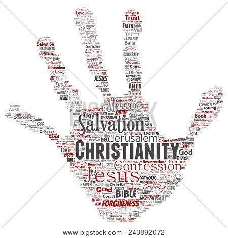 Conceptual christianity, jesus, bible, testament hand print stamp  word cloud isolated background. Collage of teachings, salvation resurrection, heaven, confession, forgiveness, love concept poster