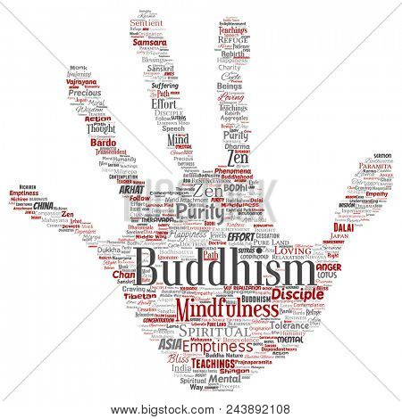 Conceptual buddhism, meditation, enlightenment, karma hand print stamp word cloud isolated background. Collage of mindfulness, reincarnation, nirvana, emptiness, bodhicitta, happiness concept poster