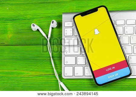 Sankt-petersburg, Russia, June 2, 2018: Snapchat Application Icon On Apple Iphone X Smartphone Scree