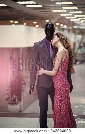 Fashion Model. Dress Outlet. Fashion, Style. Fashion Woman With Male Mannequin In Clothing Shop. Fas