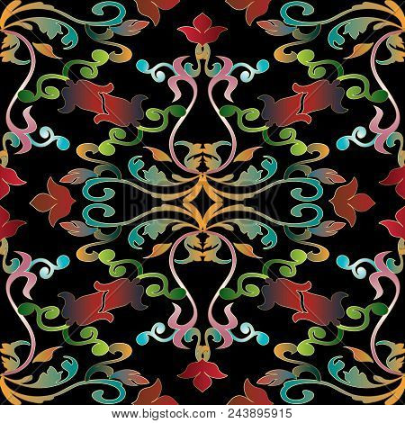 Baroque Seamless Pattern. Floral Black White Vector Background Wallpaper Illustration With Vintage D