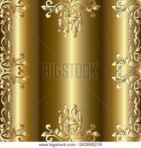 Baroque Gold Seamless Frame Pattern. Golden Floral Damask Background Wallpaper Illustration With 3d