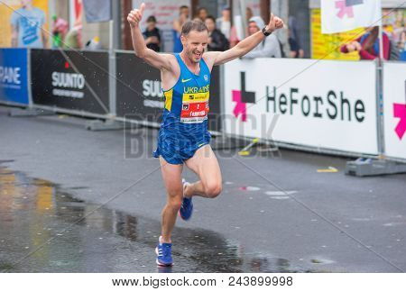 Dnipro, Ukraine - May 20, 2017: Male Winner Running During Of The Interipe  Dnipro Half Marathon Rac