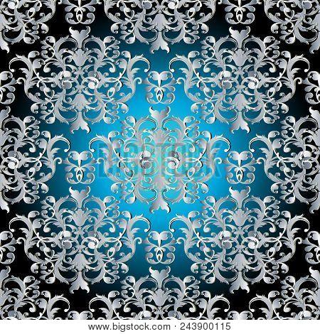 Baroque Seamless Pattern. Floral Damask Background Wallpaper Illustration With Vintage  Silver 3d Fl
