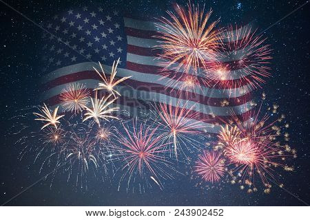 Holiday Night Sky With Fireworks And Flag Of America, Independence Day