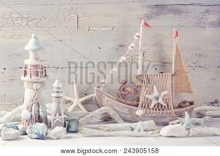 Marine life decoration on a white shabby background