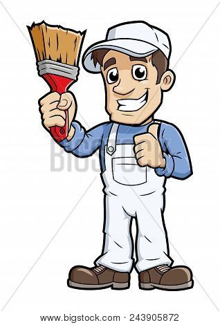 Illustration Of The Smiling Painter With A Brush