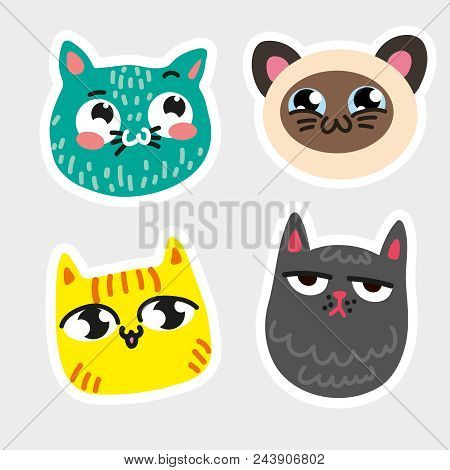 Four Isolated Cat Emoji Framed Thick White Line Blue Cat In Speckles Striped Yellow Kitty Siamese Sm
