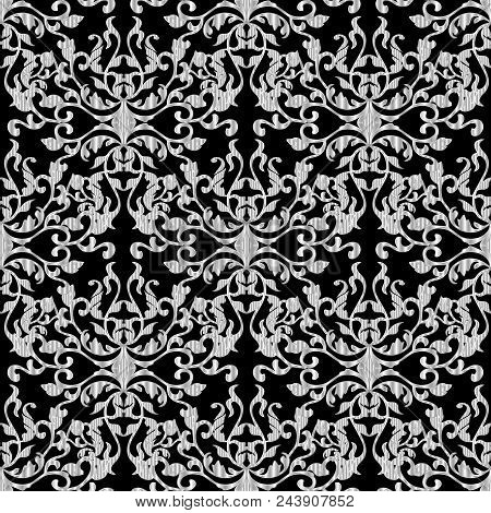 Baroque Damask Luxury Seamless Pattern. Black Vector Isolated Background Wallpaper Illustration With