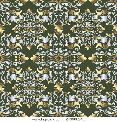 Baroque Damask Vintage Seamless Pattern. Green Vector Background Wallpaper Illustration With Gold Si