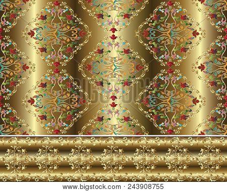 Damask Baroque Gold 3d Seamless Pattern And Border. Floral Vector Background Wallpaper Illustration
