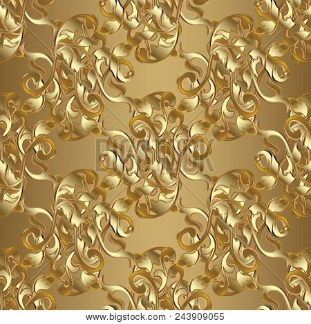 Baroque Seamless Pattern. Striped Floral Damask Background Wallpaper Illustration With 3d Gold Flowe