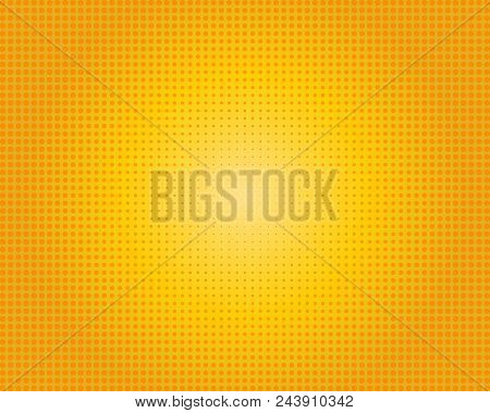Yellow Orange Dotted Background. Round Halftone. Vector Modern Background For Posters, Brochures, Si