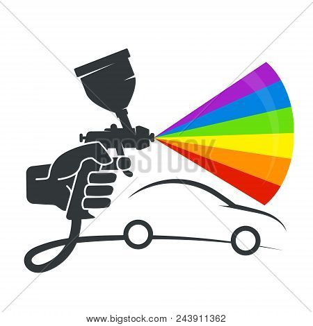 Spray In The Hand Symbol For Painting The Car