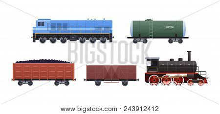 Railway Set Of Vehicles And Trains. Trailer Cars For Resources, Liquid, Mixtures, Freight Train, Loc